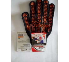 Рукавиця робоча Yurkobud чорний   синтентична з крапленням  (10шт/уп)