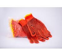 Рукавиці  вязані з ПВХ крапкою оранжеві  (12 пар/уп)