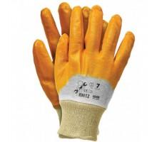 Рукавиці НІТРИЛ з жовтим покриттям RNITZ  (12 пар/уп)