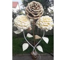 Лампа нічник троянда з 3 квіток в горщику